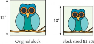 how to reduce the size of a quilt block