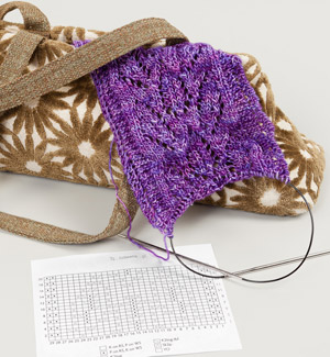 Knitting bag with chart