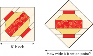 How wide is a block set on point?