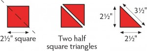 How to measure the diagonal of half-square triangles