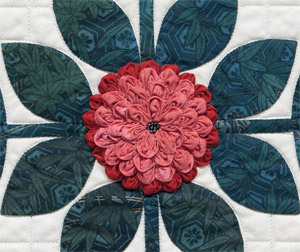Ruched flowers from Baltimore Blocks for Beginners