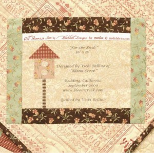birdhouse quilt label from Vicki Bellino