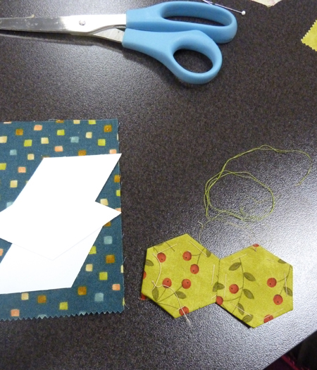 English paper piecing--joining hexagons