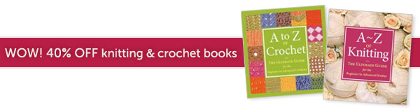 40% off knitting and crochet books