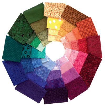 Fabrics sorted into a color wheel