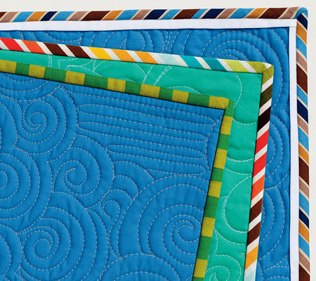 Striped quilt bindings