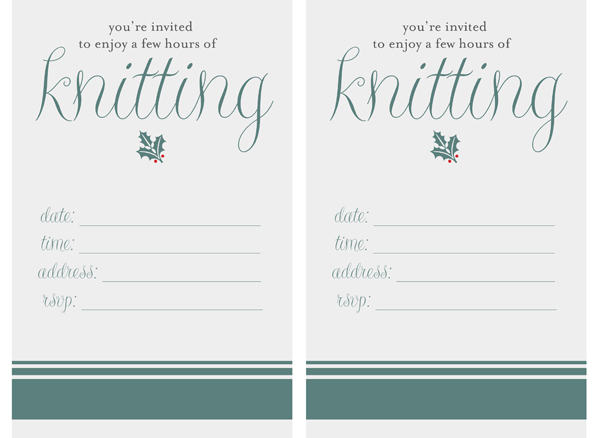 Printable knitting-party invitation