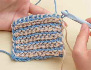 Tunisian crochet gauge swatch