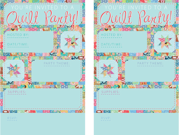 Quilting-day party invitations
