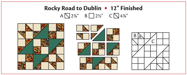 Rocky Road to Dublin quilt-block pattern