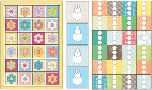 Quilt-design layouts from Hexagons Made Easy