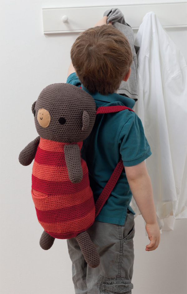 Monkey crocheted backpack