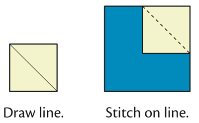 Folded corners--draw and stitch on the line