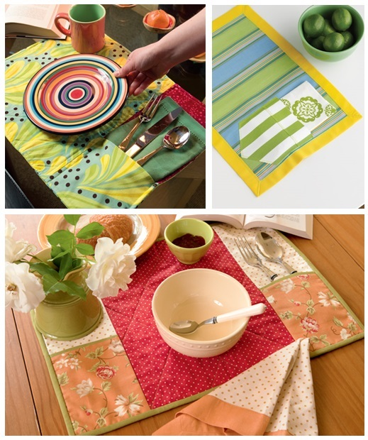 Place mats with pockets