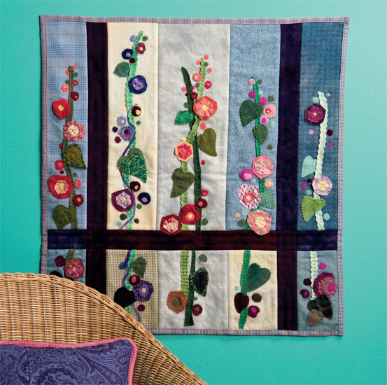 Midge's Hollyhocks Quilt from Needle Felting with Cotton and Wool