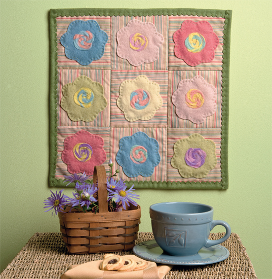 Sweet Blossoms Mini Quilt from Needle Felting with Cotton and Wool