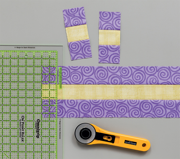 Cutting strip sets with the On-Point Ruler