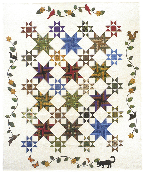 Woven Star quilt - alternate design (applique pattern not included)