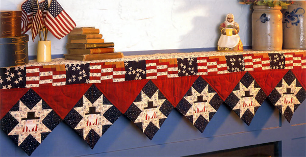 Waving Flags mantel quilt