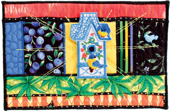 Spring Birdhouse quilted postcard