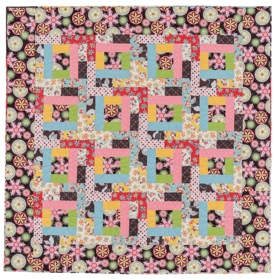 Strip-Pieced Puzzle quilt--13 fat quarters