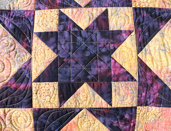Detail of batiks used in the Purple Daze quilt