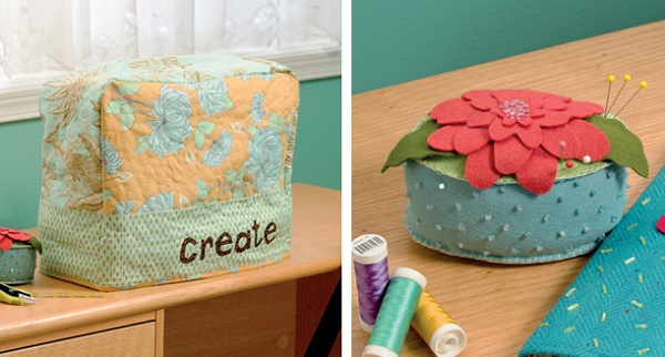 Sewing-machine cover and zinnia pincushion from Sew Practical
