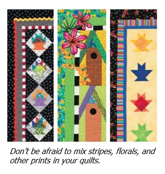 Successfully mixing prints in quilts - from Colorful Quilts