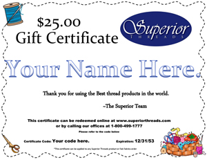 Superior Threads gift-certificate giveaway