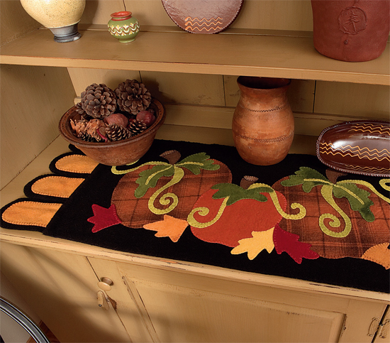 Pumpkin wool table runner