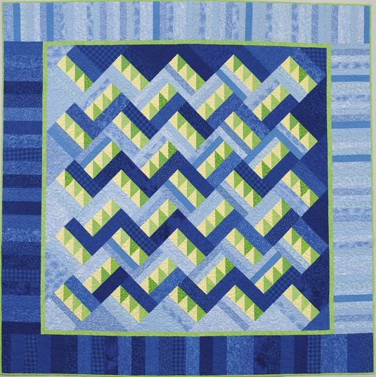 Blue and green scrappy quilt from Sew Fun So Colorful Quilts