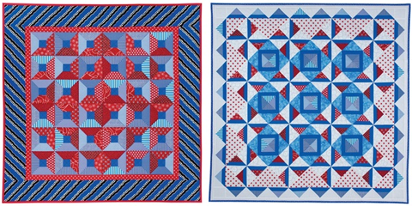 Red white and blue quilts from Quilts on the Double