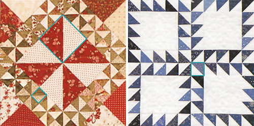 Half-square triangle quilt-block patterns