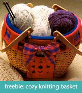 Free pattern--cozy knitting basket
