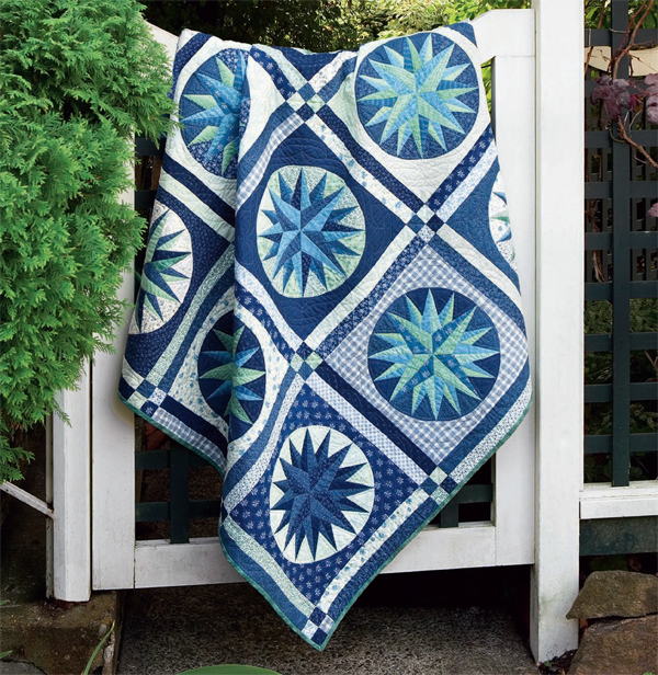 Mariner's Compass paper-pieced quilt