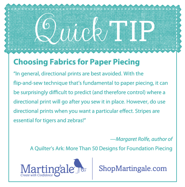 Quick tip: choosing fabrics for paper piecing