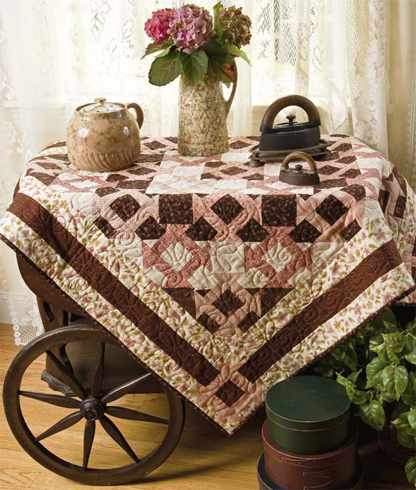 Chocolate-Covered Churn Dashes quilt