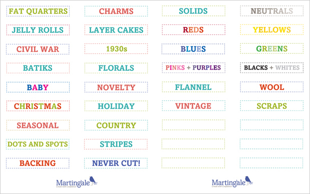 Free printable fabric-stash labels