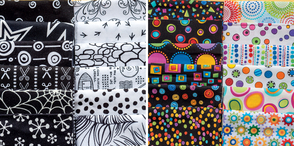 Examples of black and white fabrics