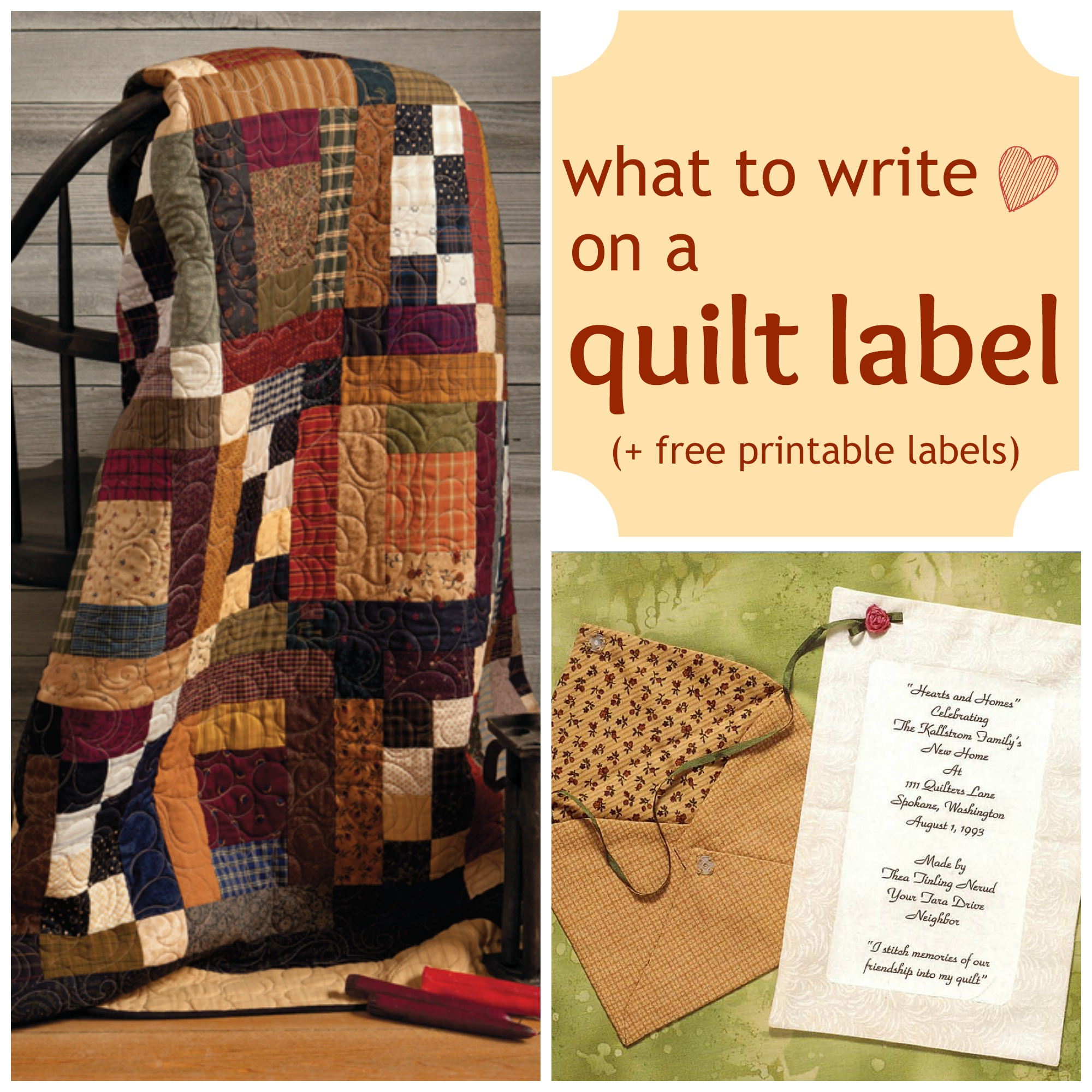 photograph regarding Printable Quilt Labels named what in the direction of create upon a quilt label - Sch This! The Martingale