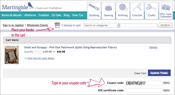 Stitch this the martingale blog how to use your coupon code fandeluxe Images