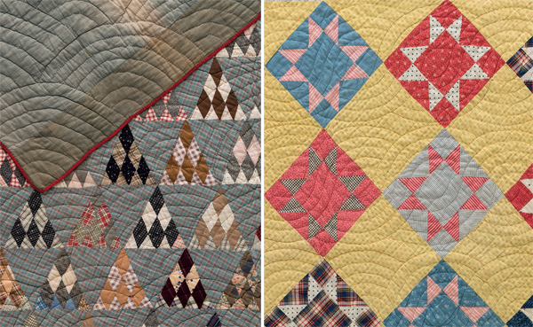 Examples of marked quilting motifs