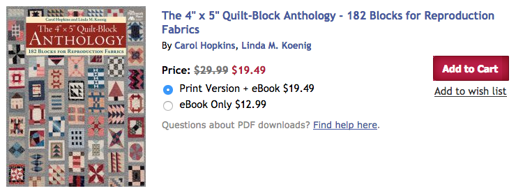 "The 4"" x 5"" Quilt Block Anthology"