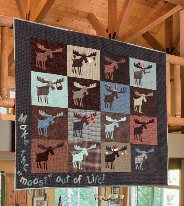 Crazy Moose Messages quilt from Crazy at the Cabin