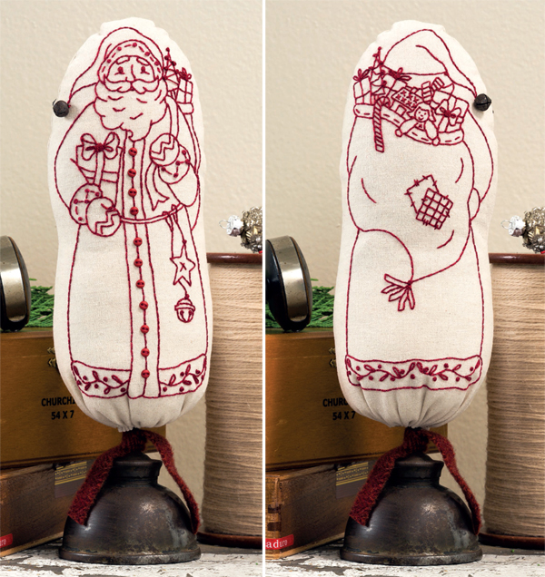 Oil Can Folk-Art Santa embroidery