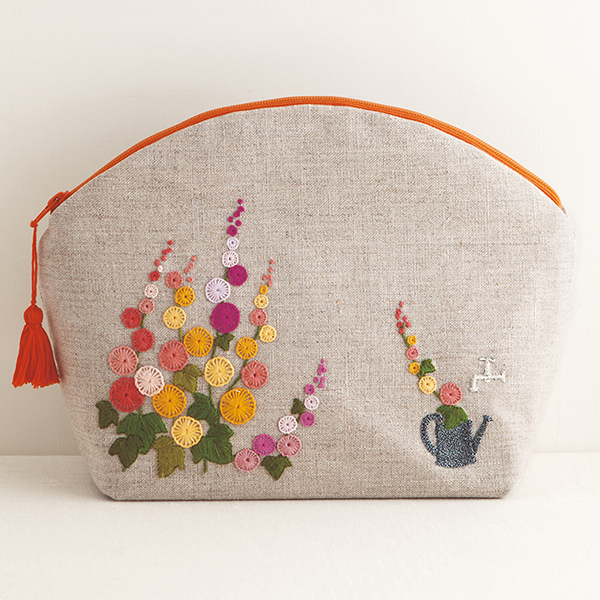 Embroidered Hollyhocks Pouch