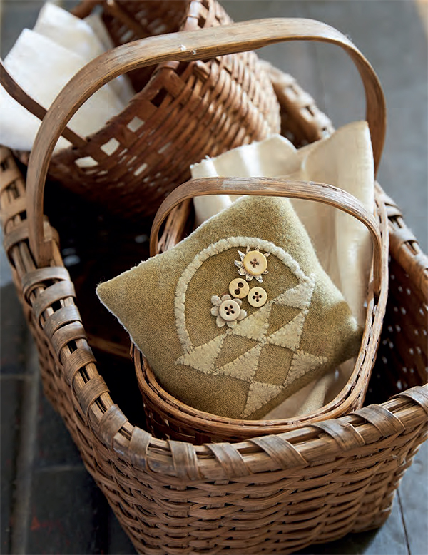 May Basket wool applique