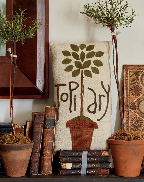 Potted Topiary wool applique