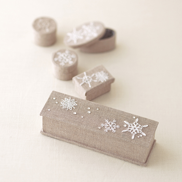 Embroidered Snowflake Boxes
