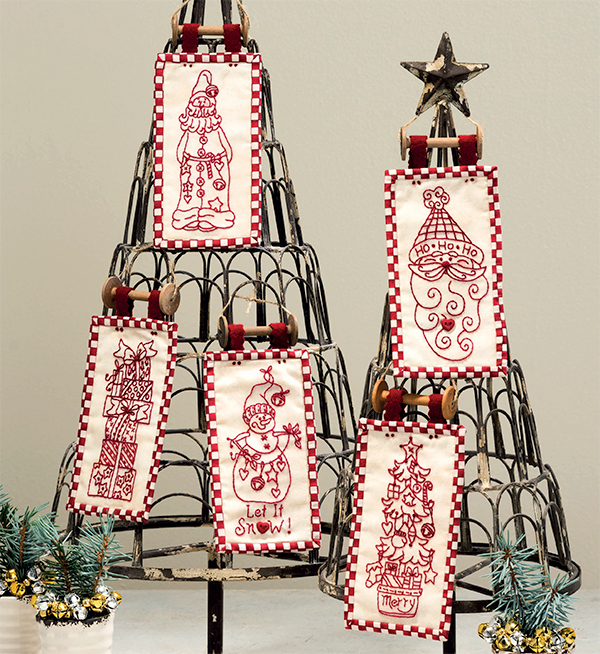 Redwork Christmas ornaments